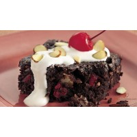 Brownie con yogur y frutas del bosque